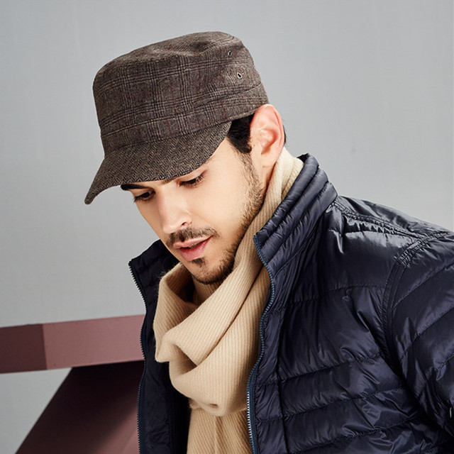 KENMONT Men Autumn Spring Cadet Military Hat Coffee Woolen Patchwork Visor  Cap Adjustable Herringbone Hats Holiday 2421 80ddf6bb51d