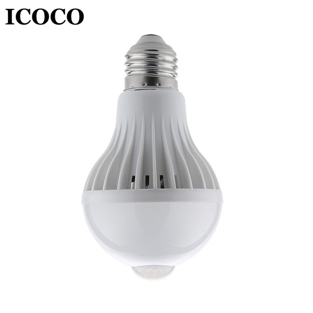 ICOCO E27 LED Infrared Sensor Human Induction Bulb Night Light 360 Degree Wall Cabinet Energy Saving Bulb Lamp 5W/7W/9W Sale