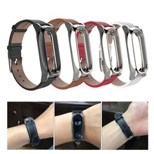 Регулируемый Сяо Mi mi Группа 2 кожаный ремешок с металлической Рамки браслет для MiBand2 умный Браслет Сяо miband Аксессуары 4 цвета