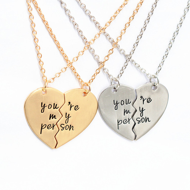 US $7 99 |2 piece You Are My Person Broken Heart Pendant Necklace Antique  Letter Engraved Lover Couples Necklace Gift-in Pendant Necklaces from