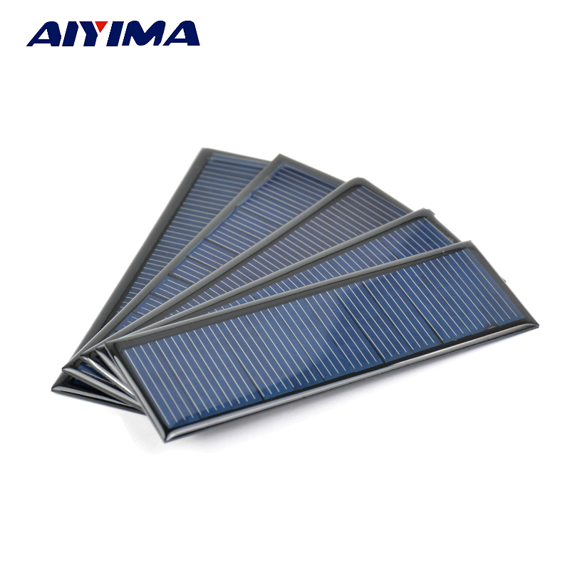 5Pcs Solar Panels DIY Poycrystalline Silicon Solar Cells Lamp Light Charger 6V 0.6W 0.1A 120x38MM