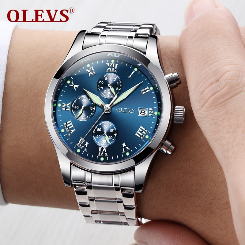 OLEVS Original Watch Men Sport Quartz Male Watches Luminous Wristwatch Auto Date Time Hour Clock Reloj Hombre Mens Steel Watches olevs fashion mens sport watches auto date rose gold leather quartz watch reloj hombre 2017 male clock hour relogio masculino