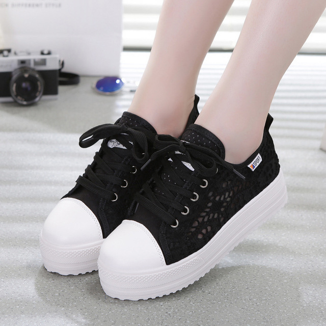Sneakers Women Fashion Breathable Platform Casual shoes dropshing Lace Leisure flat white canvas Women's Vulcanize Shoes CLD902 3