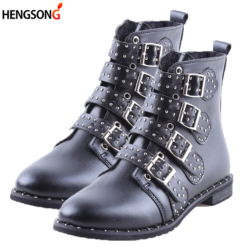 2017 Fashion Studded Ankle Boots Women Winter PU Leather Shoes High Top Flat Martin Boots Female Ladies Black Ridding Boots 43 2016 new arrival men winter martin ankle boots pu leather high quality fashion high top shoes snow timbe bota hot sale flat heel