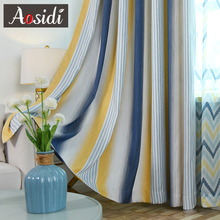 AOSIDI Thick Modern Striped Blackout Curtains For Bedroom Windows Colorblocked Yarn-dyed The Living Room Finished