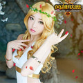 League of Legends Maven of the Strings Cosplay Wig LOL Sona Buvelle Blonde Golden Yellow Medium Long Curly Full Lace Wig