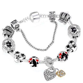 Dropshipping Carton Styles Charm Bracelets with Mickey Minnie Beads Pandora Bracelet for Women Children Jewelry Gift пандора браслет с шармами