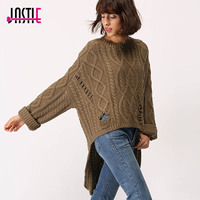 Jastie Oversized Loose Sweater Pullover 2017 Autumn Winter Sweaters Warm Tops Long Sleeve Hole Irregular Jumper