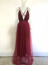 Plunge V Neck Cross Back Rose Gold Sequins Maxi Dress