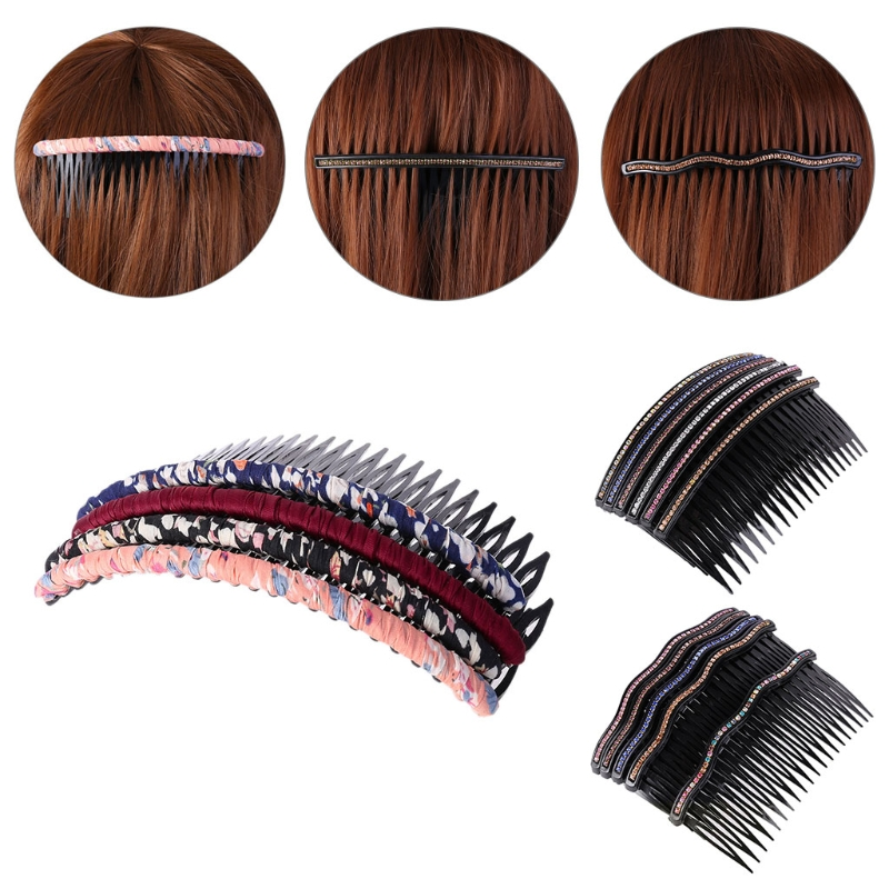 with 4 Pieces High Elastic Thick Non-Marking and Non-Damaging Hair ring with 20 Pieces Round Head Black Clips Makeup Small Steel Clips Unisex Wavy Metal Hair Hoop Band Black Hair Bundle Accessories