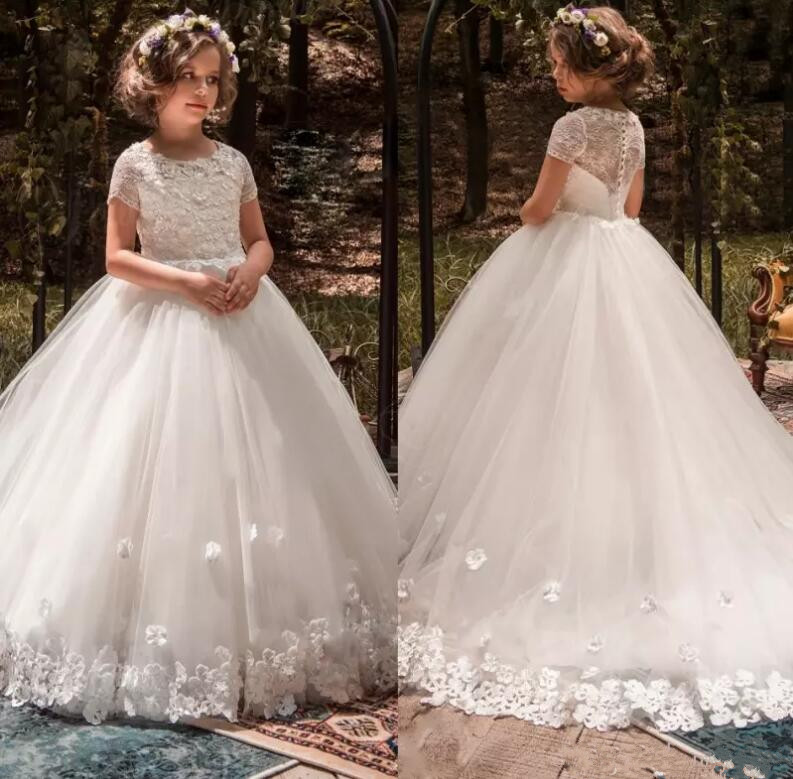 White Ball Gown   Flower     Girls     Dresses   For Weddings 3D Floral Appliqued Lace Little Kids First Communion   Dress
