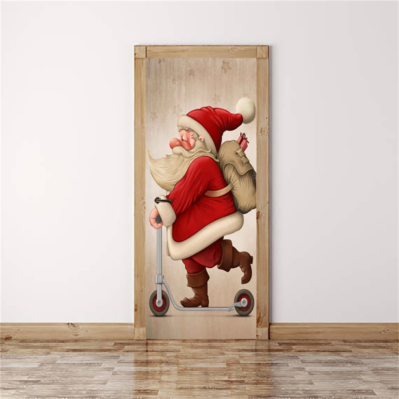 Santa Claus Door Sticker DIY Wall Decal For Door Decor New ...
