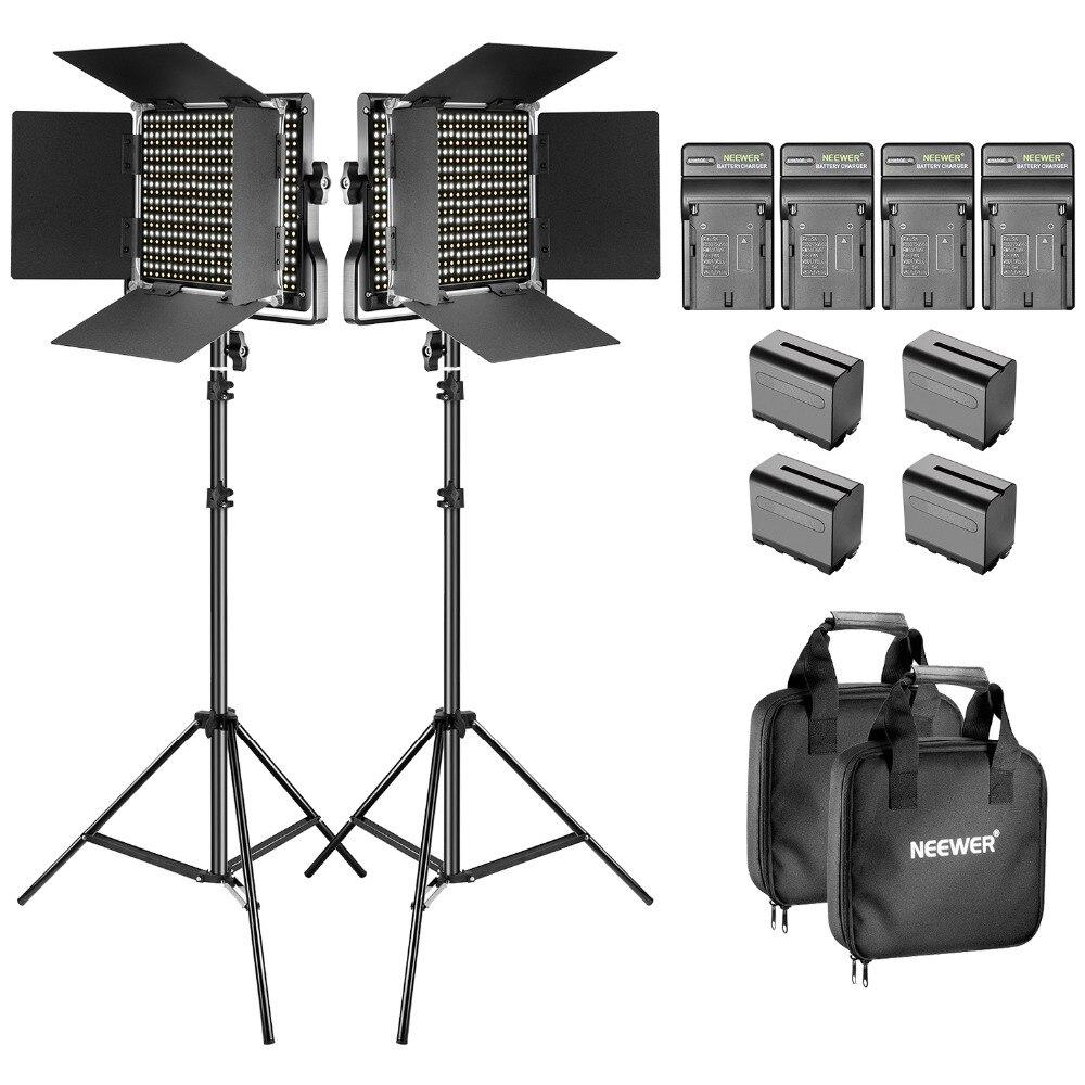 Neewer Bi-color LED 660 luce Video e stand kit con caricabatteria per studio YouTube video registrazione durevole struttura in metallo