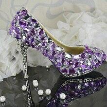Handgemachte Damen Lila Kristall Hochzeit Schuhe Luxuriöse Schöne Brautkleid Schuhe Frauen High heel party club Schuhe