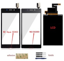 For Sony Xperia M2 Aqua D2403 D2406 / M2 D2302 D2303 D2306 Touch Screen Digitizer Sensor + LCD Display Screen + Adhesive + Kits стоимость