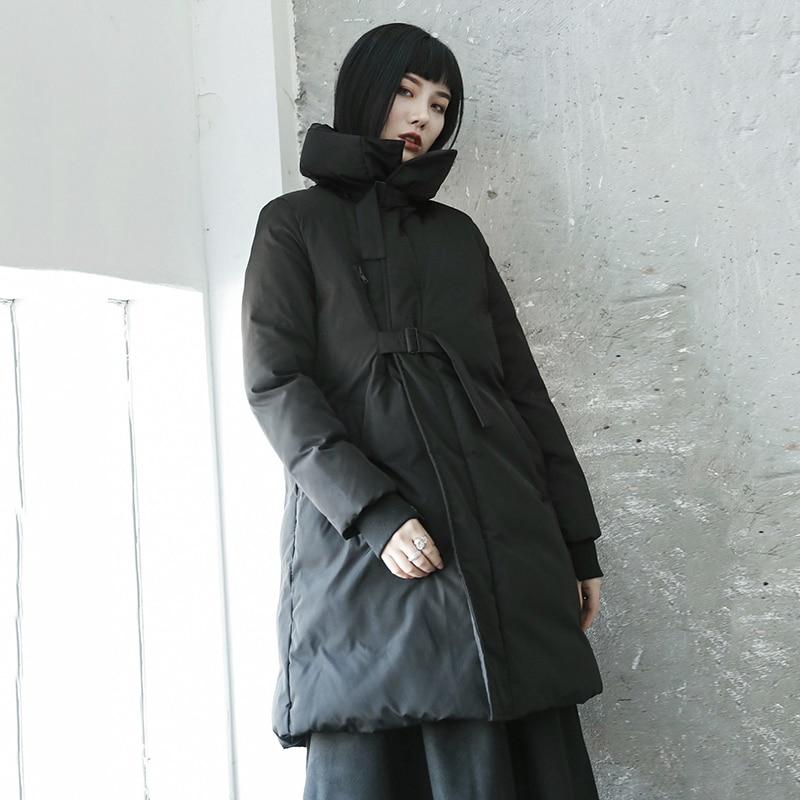 De Lyh2380 Nouvelles Manches Corée 2018 Roulé Bandage Femelle Mode Plein xitao Parka Solide Couleur Manteau Col Longues Black Hiver Femmes txwq4WUB
