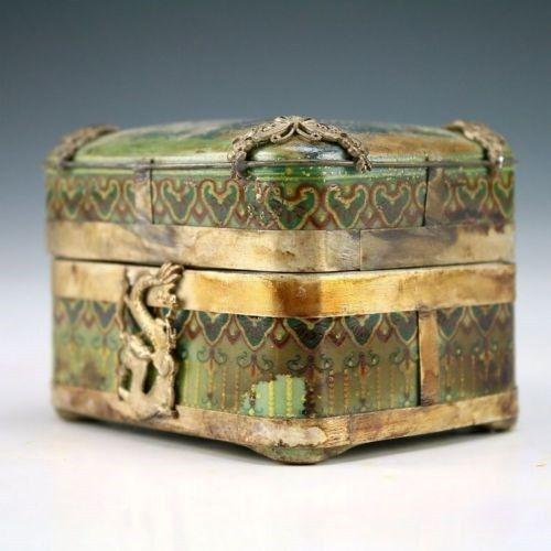 Christmas gift Oriental Vintage Handwork tibet Silver Porcelain Dragon Belle Jewel Box