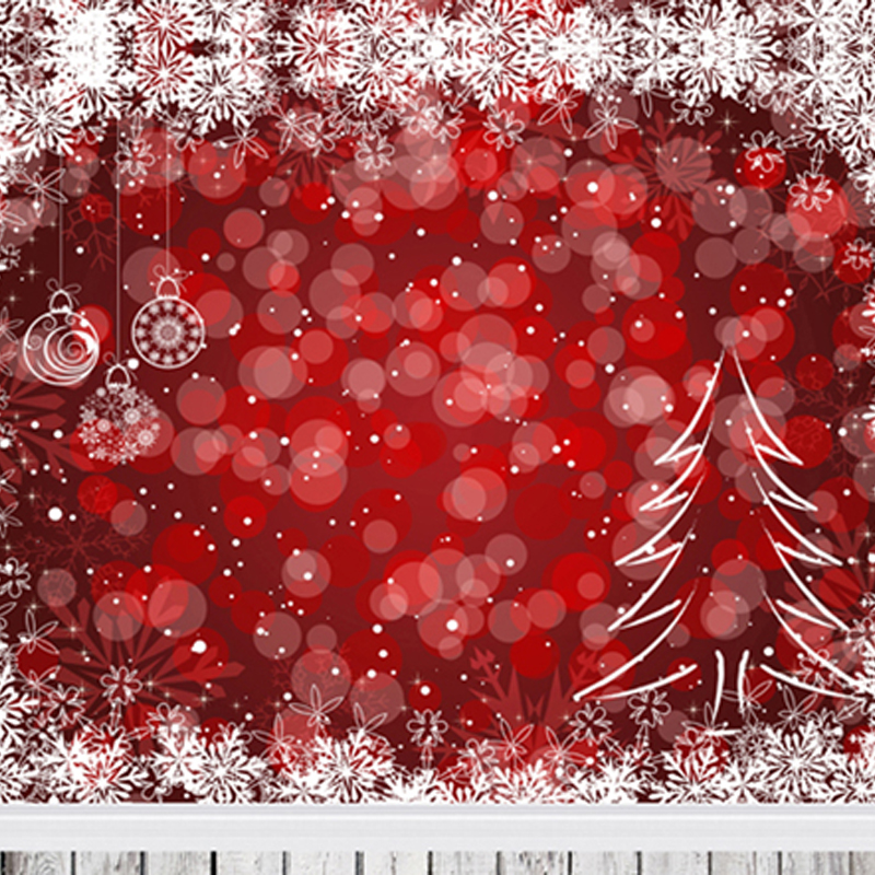 Red Halo White Xmas Tree Snowflakes Merry Christmas Photography Backdrops Holiday Backgrounds for Photo Studio 150cm*200cm