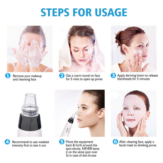 Pore Cleaner Nose Blackhead Remover Face Deep T Zone Acne Pimple Removal Vacuum Suction Facial Diamond Beauty Care SPA Tool Skin 5