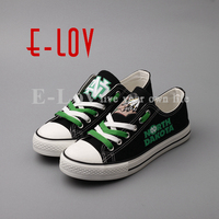 E LOV Low Top Women Girls Casual Canvas Shoes Printed Black Leisure Shoes High School College