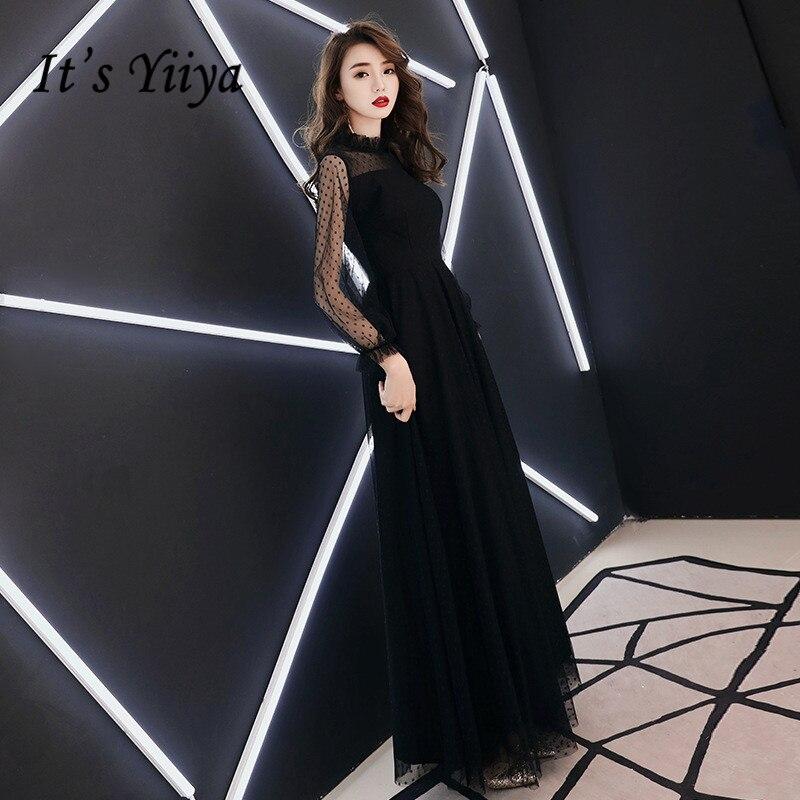 It's YiiYa Evening Dress Fashion Dot Print Black Long A-line Formal Dresses Long Sleeve Chiffon Elegant Party Gown E016