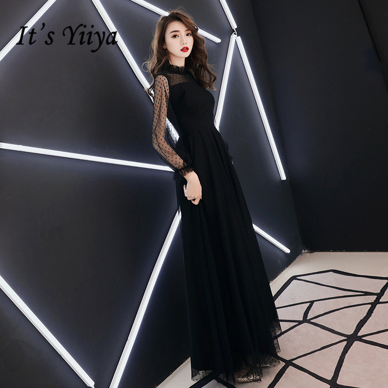 It's YiiYa   Evening     Dress   Fashion Dot Print Black Long A-line Formal   Dresses   Long Sleeve Chiffon Elegant Party Gown E016