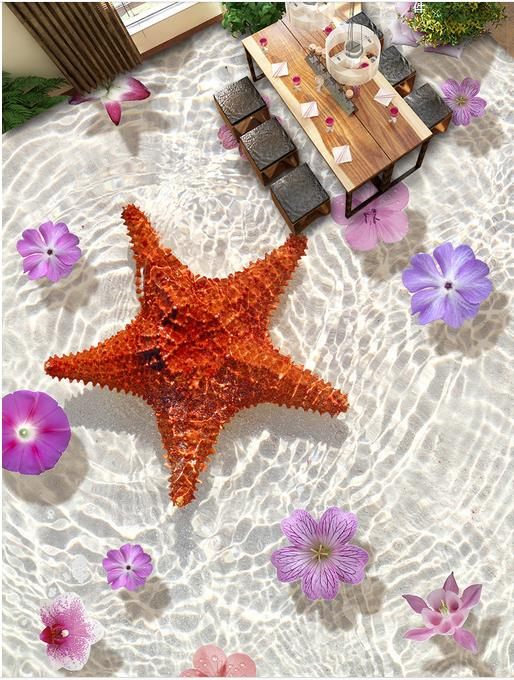 custom laminate flooring Starfish Flowers 3d pvc vinyl flooring wallpapers for living room floor self adhesive wallpaper roll