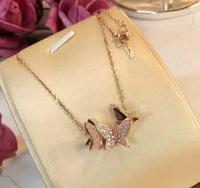 925 Sterling Silver Rose Gold Zircon Butterfly Necklaces & Pendants for Women CZ Wedding Statement Choker Necklace Gifts