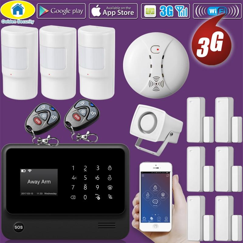 Or Sécurité G90B Plus + WiFi 3g GSM WCDMA Sans Fil Accueil Système D'alarme de Sécurité Antivol Système Détecteur de Fumée