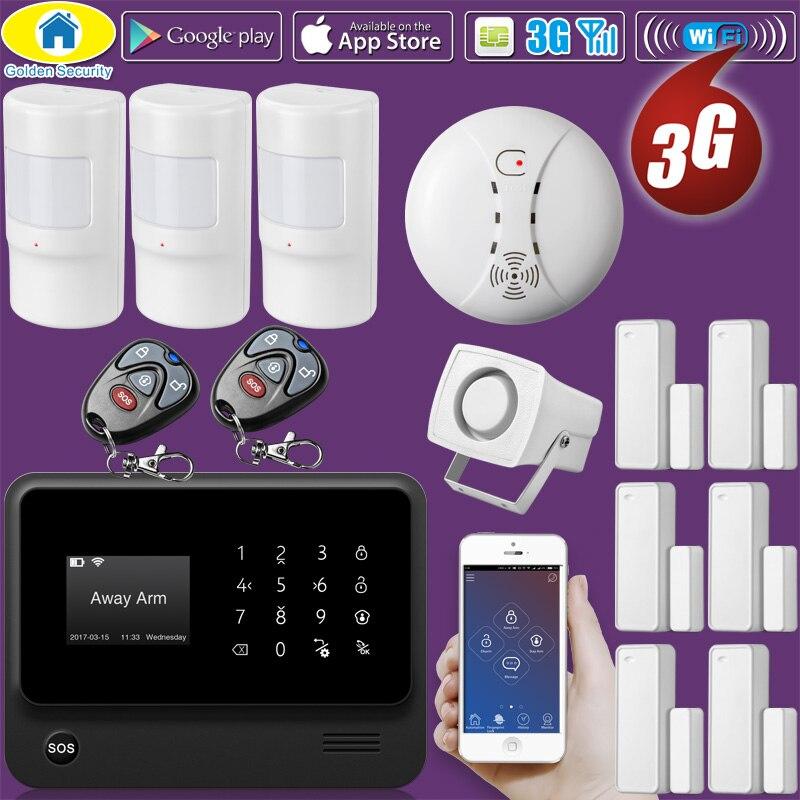 Ouro g90b plus wifi 3g gsm wcdma sem fio de segurança em casa sistema alarme do assaltante com detector fumaça