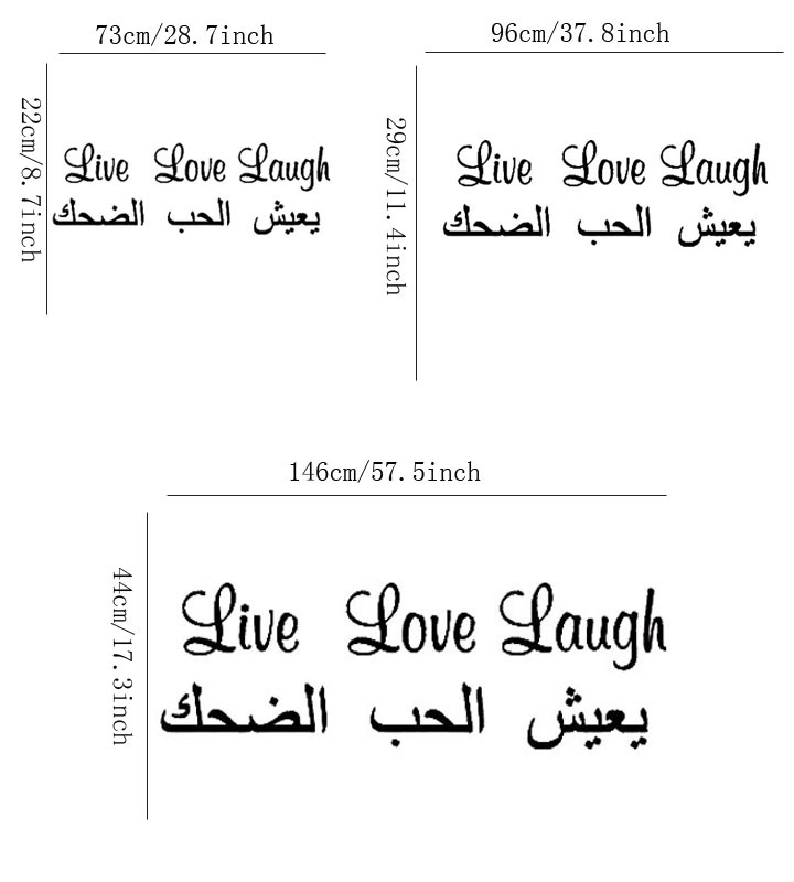 US $11 63 16% OFF|Arabic Live Love Laugh Quote Wall Sticker Walls Art  Decals Vinyl Lettering Decoration For Decoration House-in Wall Stickers  from
