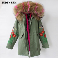2018 Embroidered Cotton Parka Jacket For Women Faux Fur Lining Down Coat Genuine Large Raccoon Fur