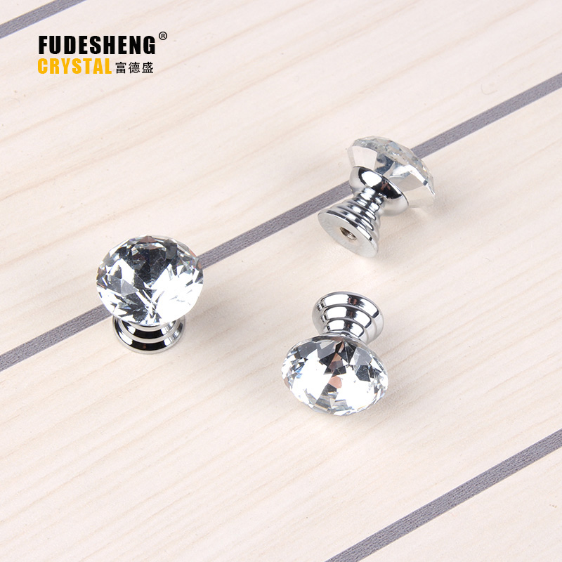 10Pcs/pack 20mm Diamond Shape Crystal Glass Drawer Cabinet Knobs And Pull  Handles Kitchen Door Handles Wardrobe Hardware