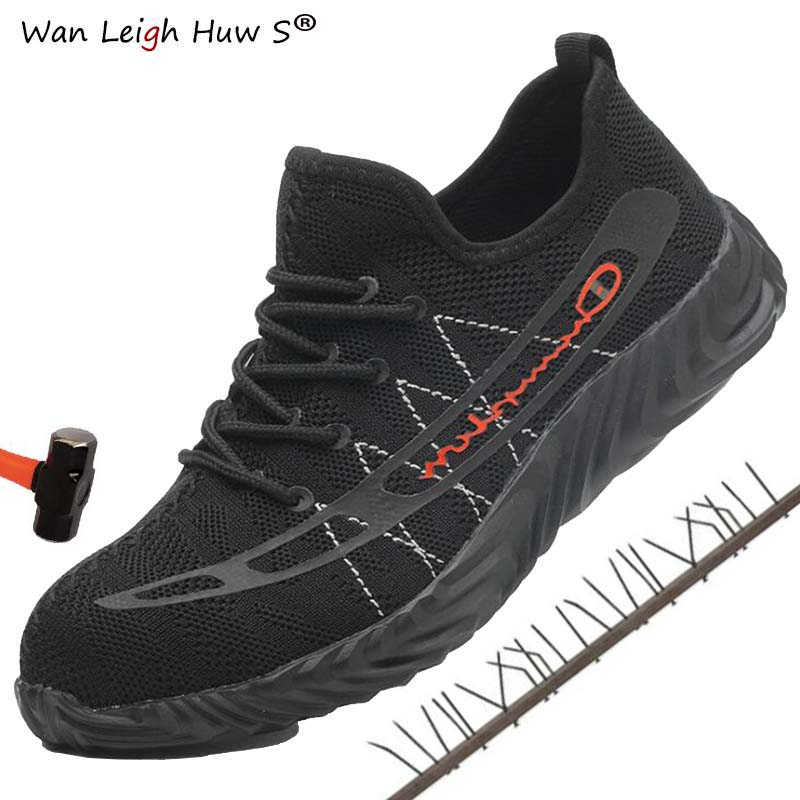 Drop shipping Lightweight Summer Work & Safety Shoes Men Camouflage Puncture Proof Breathable Indestructible Steel Toe Boots