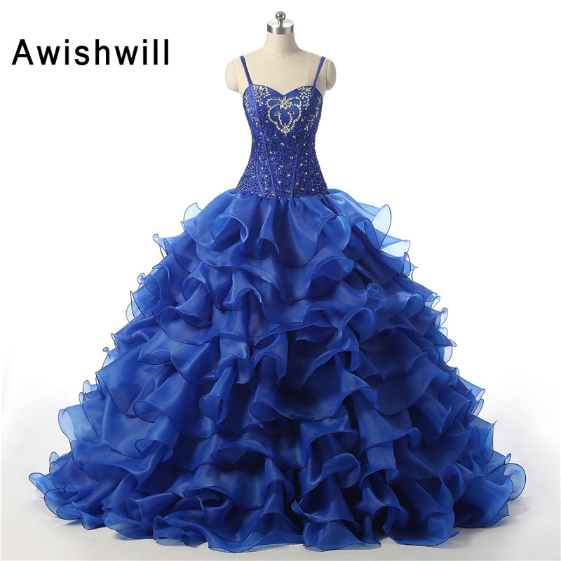 Arritja e re Vestido de 15 Anos rripa spageti Ruffles Ruffles Organza Ball Gown Sweet 16 Dress Royal Blue Quinceanera Dresses
