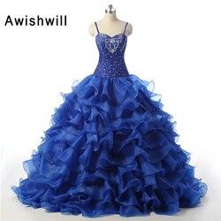 New arrival vestido de 15 anos spaghetti strap beadings ruffles organza ball gown sweet 16 dress.jpg 250x250