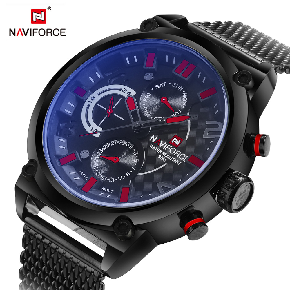NAVIFORCE Men's Fashion Sport Watches Men Analog Date Clock Man Quartz WristWatch full steel Waterproof Watch Relogio Masculino цена и фото