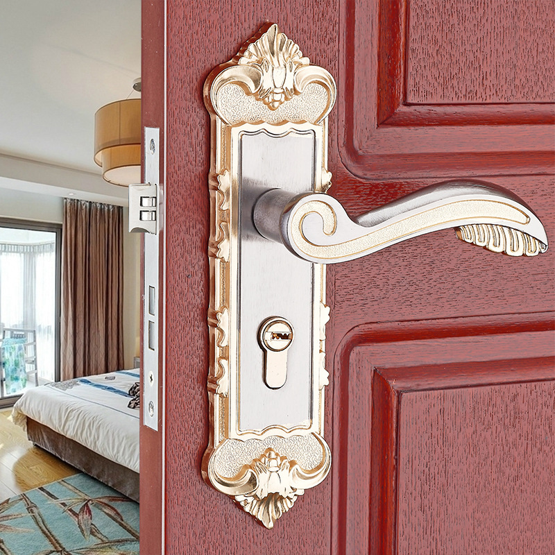 купить European-style mechanical door locks in one forming interior wooden door bedroom door lock aluminum handle lock hardware locks онлайн