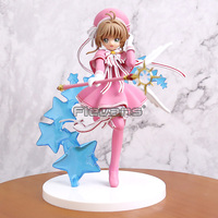 Anime Cartoon Card Captor Sakura Clear Card Kinomoto Sakura PVC Figure Collectible Model Toy 18cm