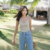 O desgaste do verão de todos os coincidir com alta elastic malha magro alças finas Dixiong férias vento feminino colete de verão