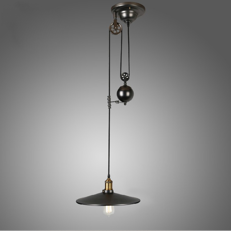Industrial Pulley Light Fixture: Pulley Pendant Lamp Light Retro Loft Vintage Industrial