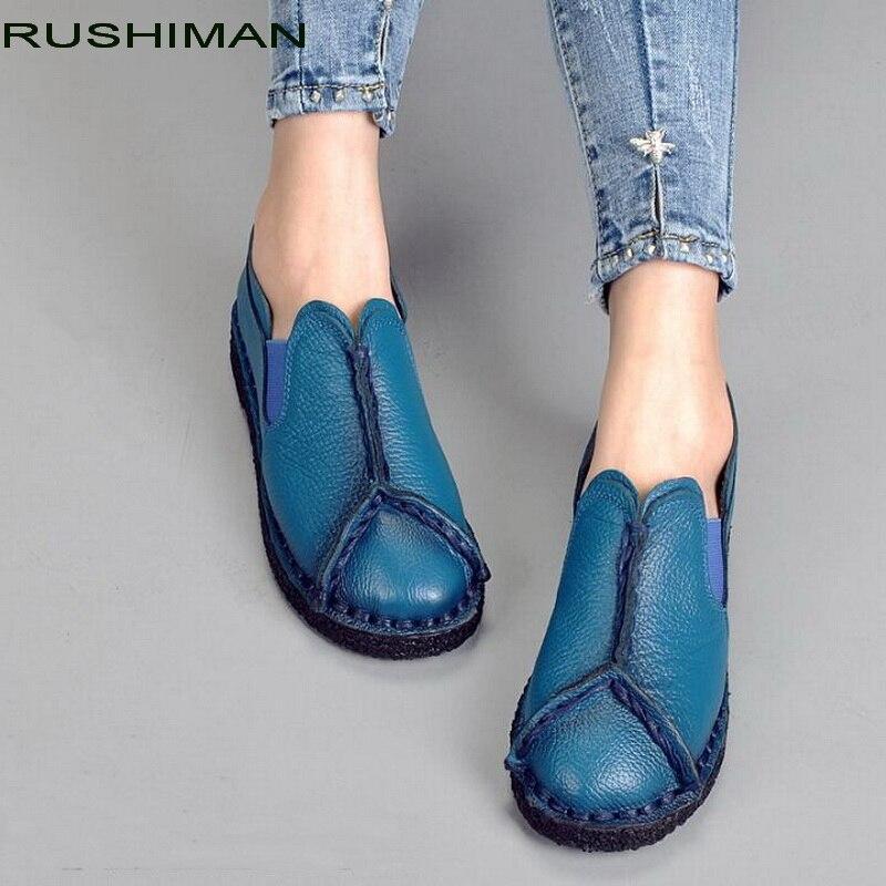 RUSHIMAN Retro Autumn Shoe Genuine Leather Women Flat Shoes Fashion handmade Woman Casual Loafers Femme Soft Driving Shoe