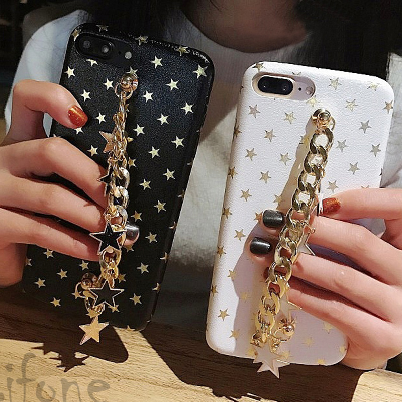 Kerzzil Glitter Stars chain Geometric Images Case For iPhone 6 6S Plus PU Leather Soft Cover Case For iPhone 6 7 6S Capa