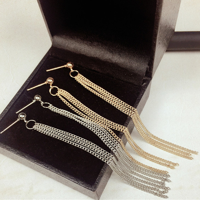 E085 Elegant Lady Long Metal Tassel Earrings for Women Luxury Jewelry For Banquet Vintage Hangs Earring Hot Sale Party Jewelry