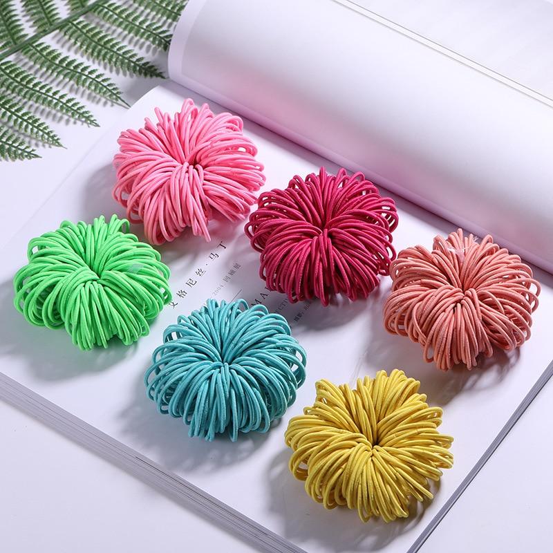 100PCS/Lot Girls Candy Colors Nylon 3CM Rubber Bands Children Safe Elastic Hair Bands Ponytail Holder Kids Hair Accessories