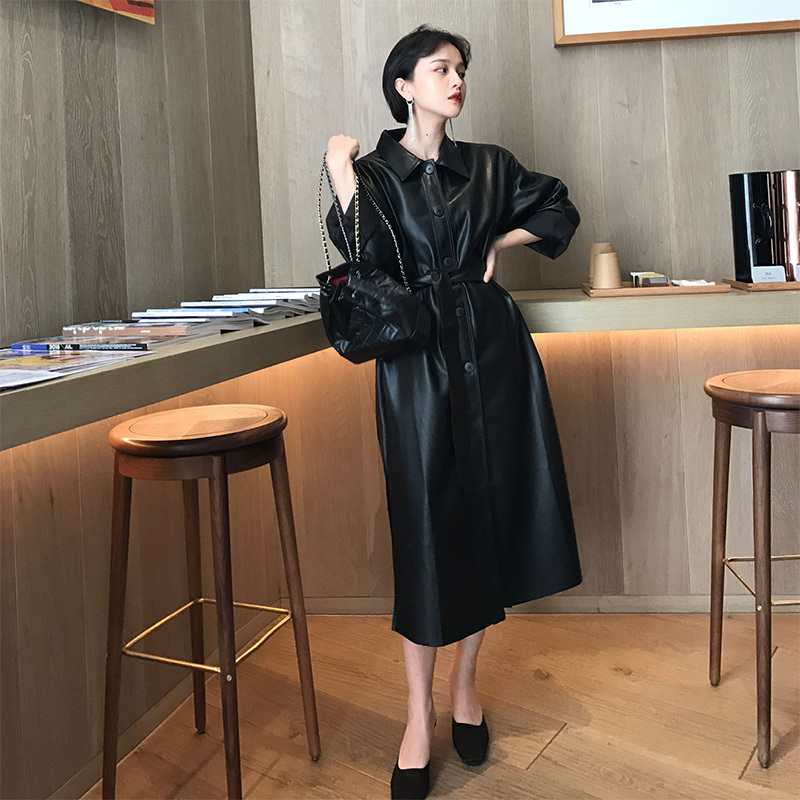 LANMREM 19 New Spring Fashion Long Type PU Leather Windbreaker Loose Single-breasted Long Coat Black Women's Clothing YG625 5