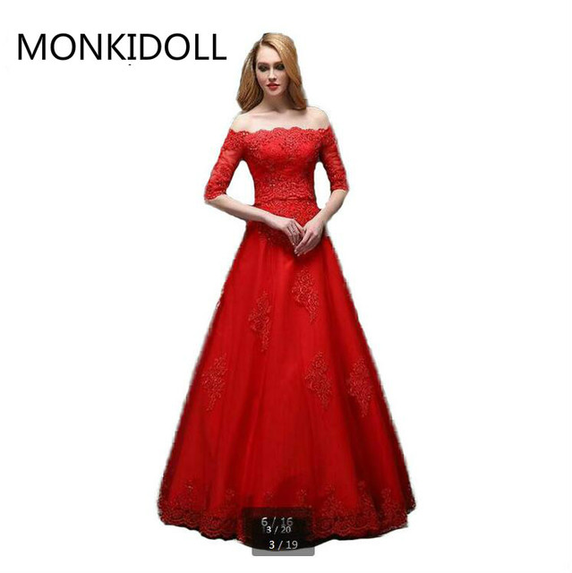 Attractive Wholesale A Line Red Lace Appliques Beaded Prom Dress