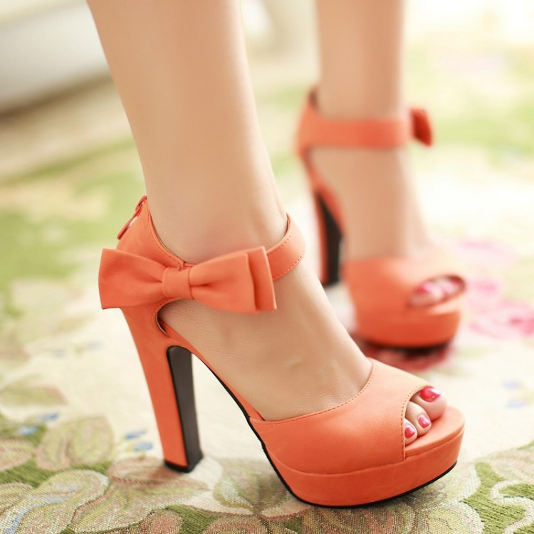 2015 Summer Suede Pu Leather Open Toe Thick Heel Sandals Women Sexy Bow Ankle Strap High Heels Platform Pumps Plus Size34-43