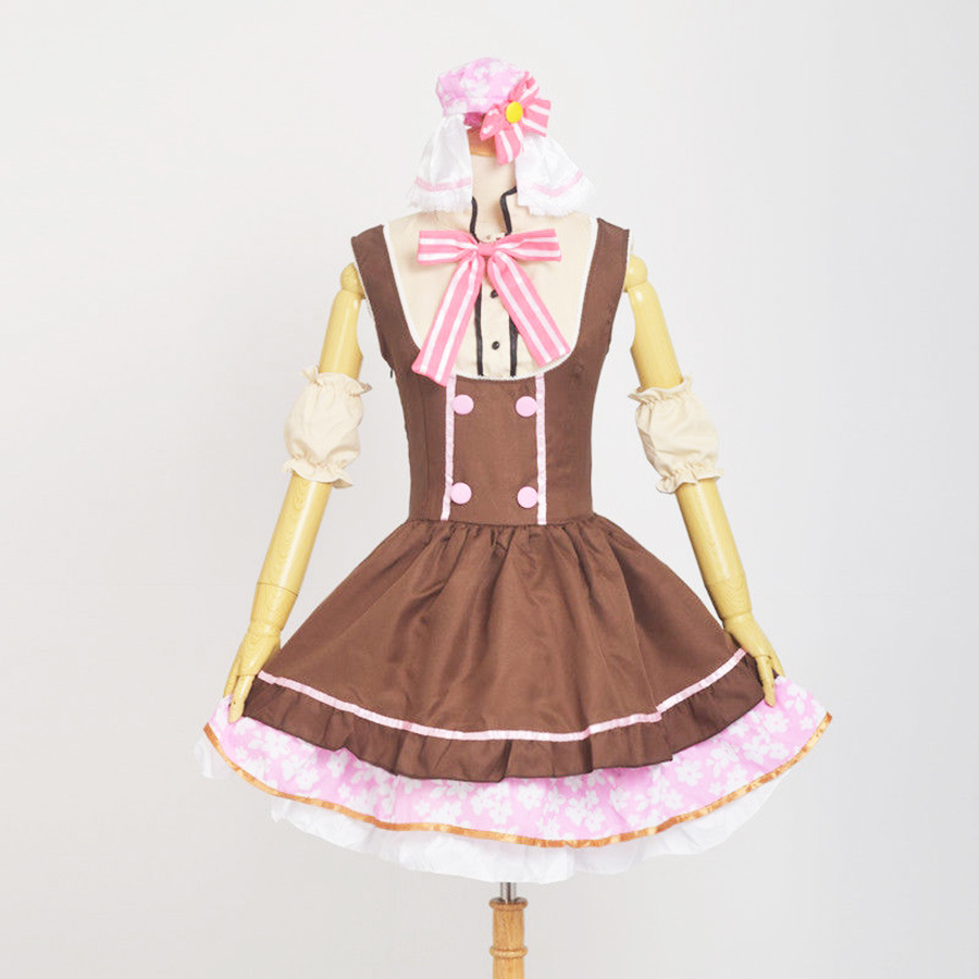 Brown Niko Yazawa Cosplay Women Cute Love Live! School Idol Project Maid Dress Costume with Bow Clothing