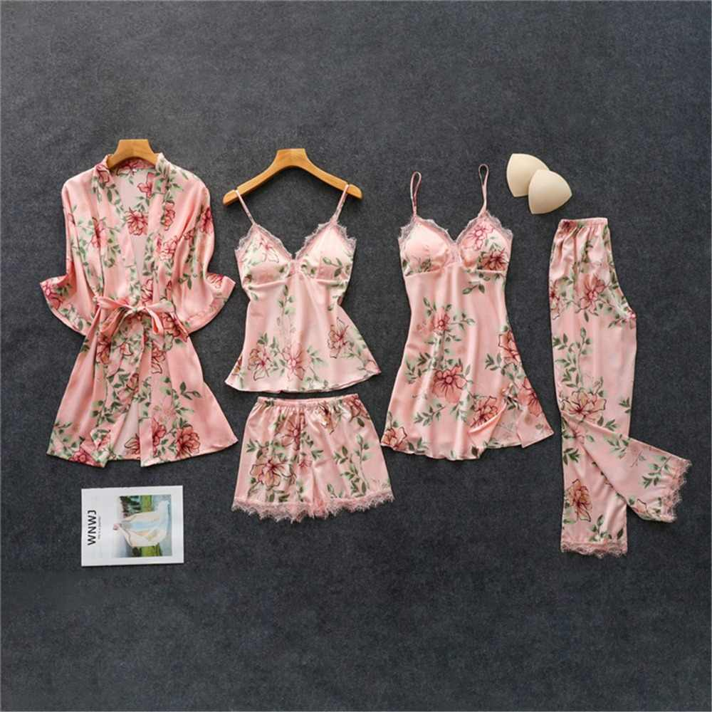 Daeyard Women's Pajamas Silk Floral Overall Print 5Pcs Pajama Set Satin Pyjamas Sexy Lace Pijama Nightie Sleepwear Home Clothes